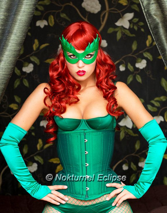Poison Ivy Green Leather Mask Batman Female Villain Comic Con Sexy Halloween Costume Masquerade Fetish Ball