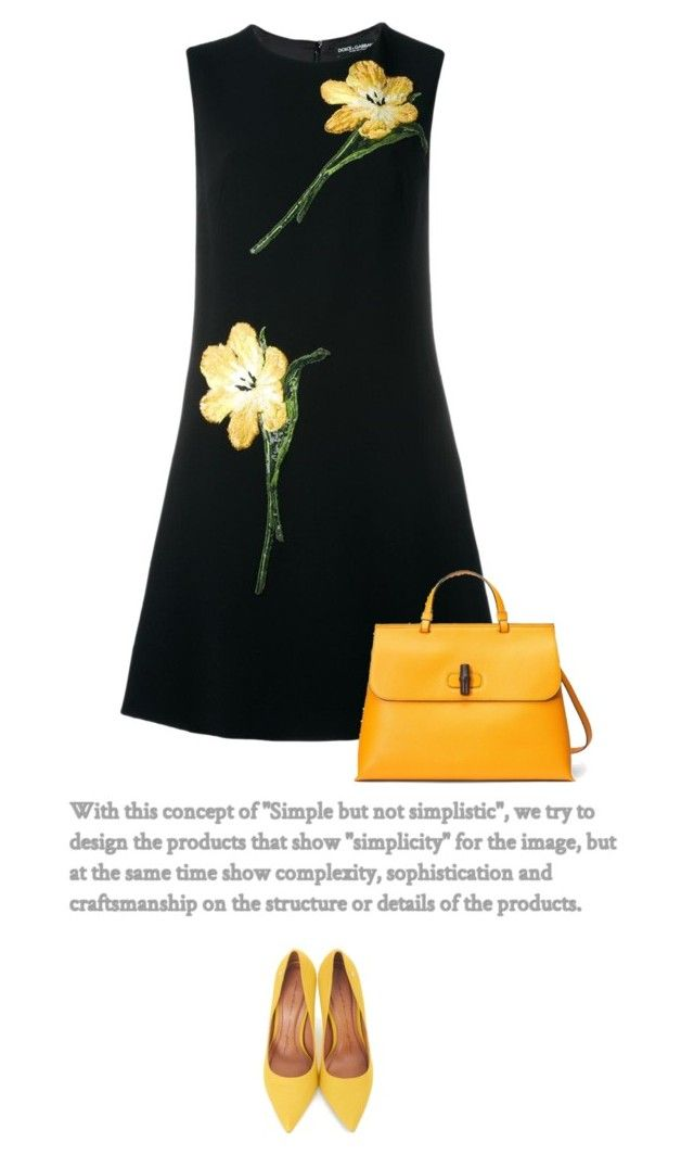 Simply Yellow by anja-173 on Polyvore featuring polyvore fashion style Dolce&Gabbana Moda In Pelle Gucci clothing