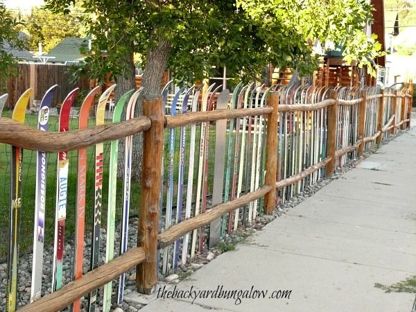 Fence made from skis (from The Backyard Bungalow)--this is too ...