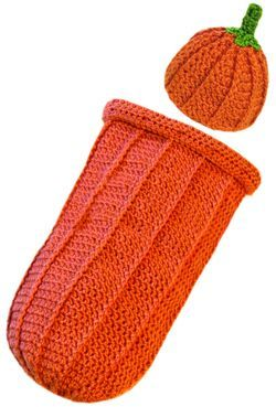 free crochet pattern for pumpkin baby cocoon with hat.