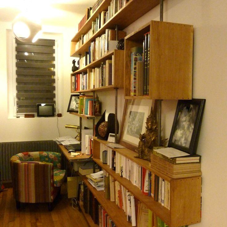 les 25 meilleures id es de la cat gorie bibliotheque chene sur pinterest tag res en ch ne. Black Bedroom Furniture Sets. Home Design Ideas