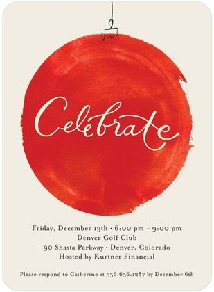 Brushed Bauble - Corporate Holiday Party Invitations in Bright Red | Petite Alma