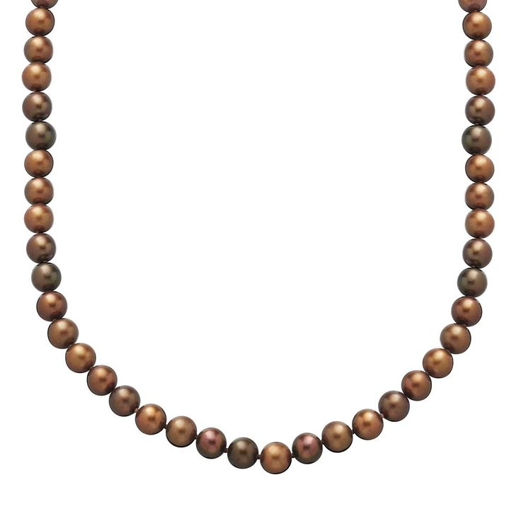 14k Gold 7-mm Chocolate-Dyed Freshwater Cultured Pearl Necklace, Women's, Brown