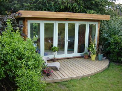 Modern glass deck shed outside living space pinterest for Garden office and shed