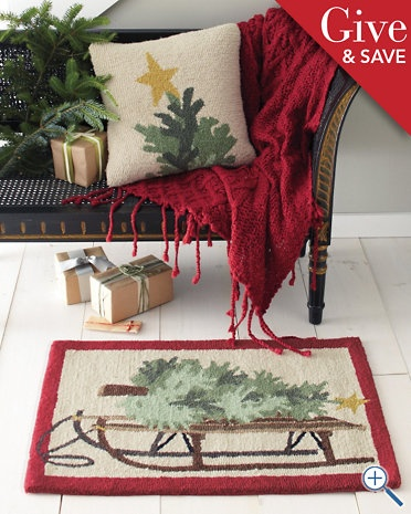 wool hooked Christmas rug who wouldn't want to bring I the tree on their favorite sleigh