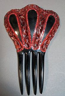Red & Black Celluloid comb, Victorian era Fancy  Hair Comb