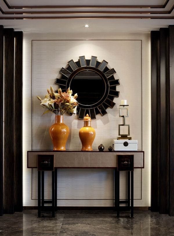 Modern Foyer Cabinet : Luxury entryway decor a modern console table and mirror