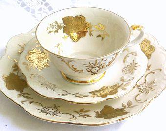 vintage teacup trio german tea cup trio vintage teacup shabby chic gold teacup german porcelain Winterling 74