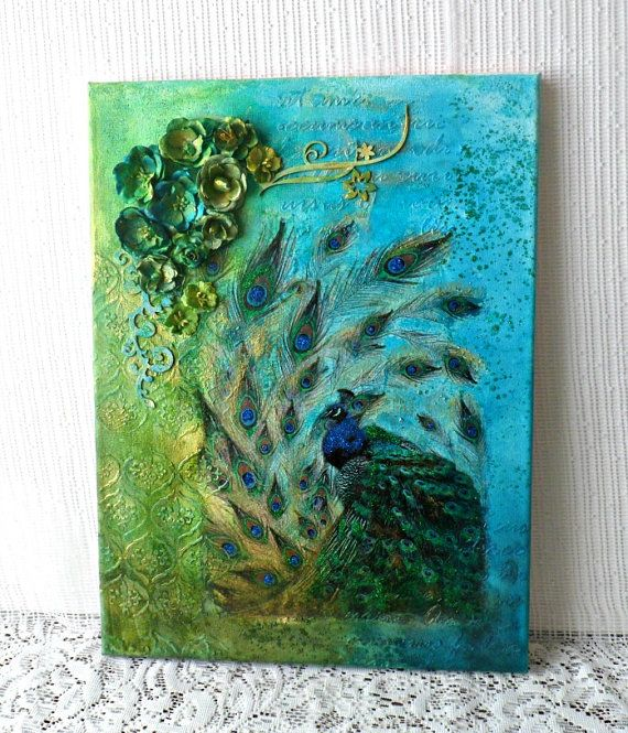 Mixed media canvas picture  peacock mixed by CarmenHandCrafts