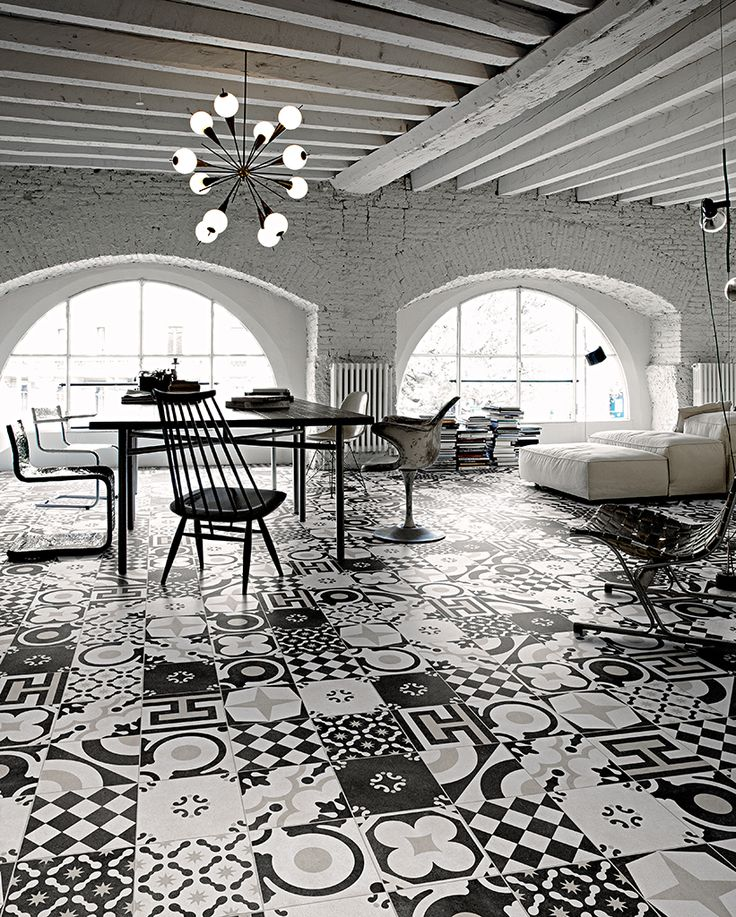 CF Cement accents black & white room setting