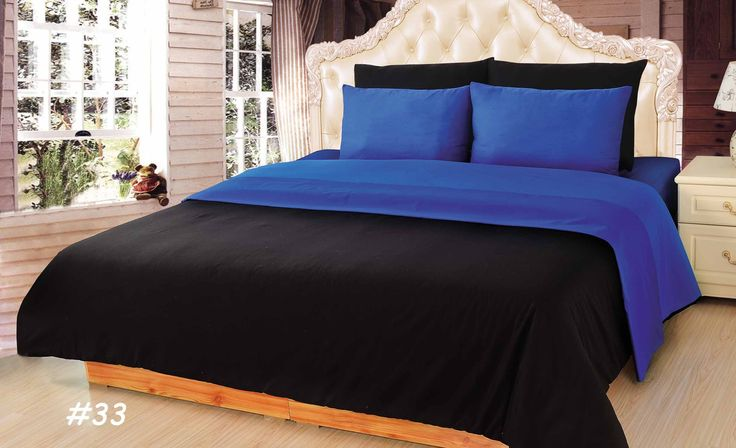 Tache Duet Black Amp Blue Cotton Queen Comforter Set 6pcs