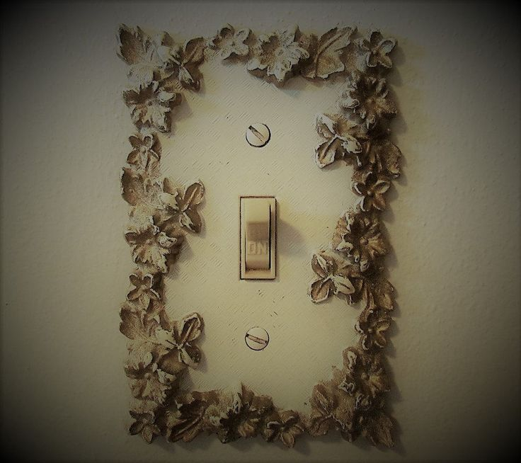 Vintage Brass  Decorative Switch Plate White And Gold Shabby Chic Bedroom Bathroom Ornamental  Light Switch Plate Covers by KozyKitchy on Etsy