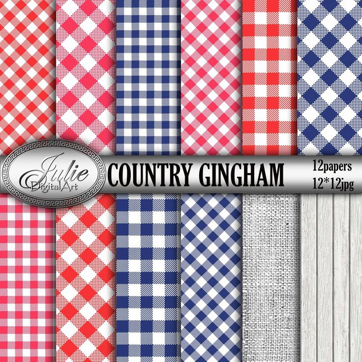 Gingham digital paper Navy and red country background Blue
