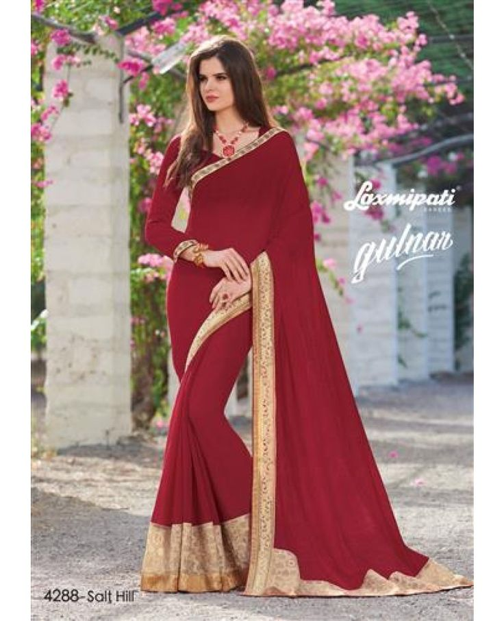 Material : Chiffon, Raw Silk Occasion : Bridal Wear, Engagement, Party Wear, Wedding Work : Embroidery patch border, Lace, Stone Work Colour : Maroon