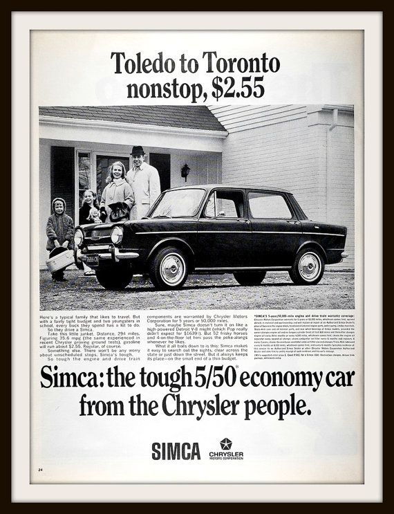 1967 Simca by Chrysler Advertisement. Vintage Simca ad. Vintage car ad. Vintage Vehicle Ad. Vintage Chrysler ad.