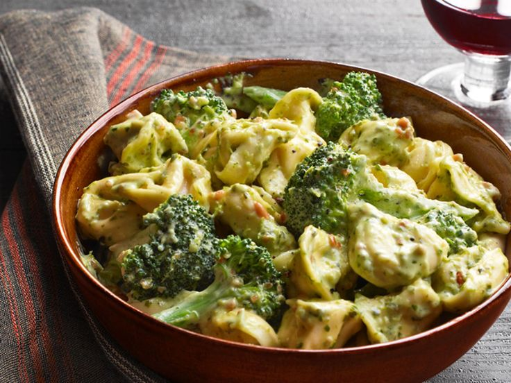 Pesto Cream Tortellini (No. 10) : Simmer 1 cup heavy cream with 1/4 cup pesto in a skillet until slightly thickened. Stir in 1/4 cup grated parmesan. Toss with 12 ounces cooked tortellini and 2 cups steamed broccoli.