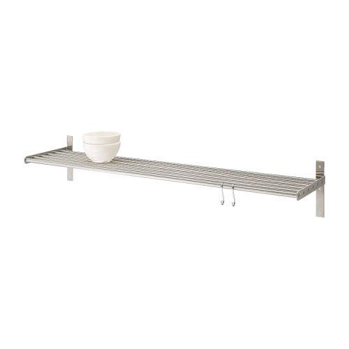 GRUNDTAL Wall shelf IKEA Saves space on the worktop. Can be used as a pot lid holder as well. May also be used in high humidity areas.