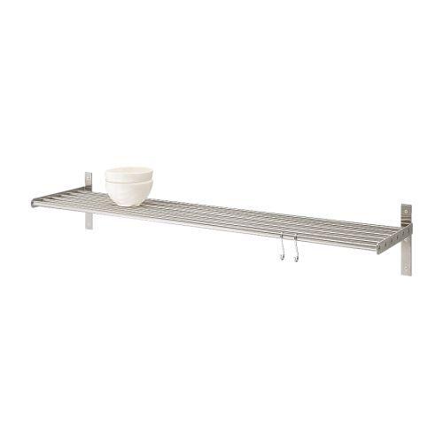 GRUNDTAL ウォールシェルフ IKEA ワークトップの場所を取りません 鍋ぶたホルダーとしても使えます 湿度の高い場所でも使用できます