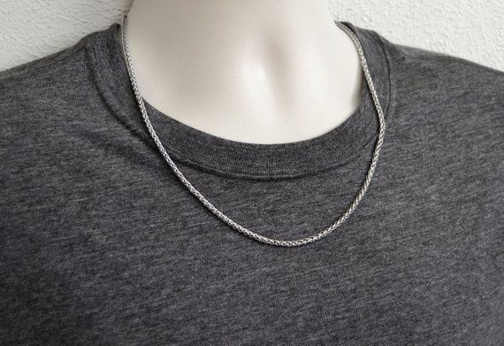"SILVER WHEAT ROPE CHAIN NECKLACE 20/"" 3 mm"