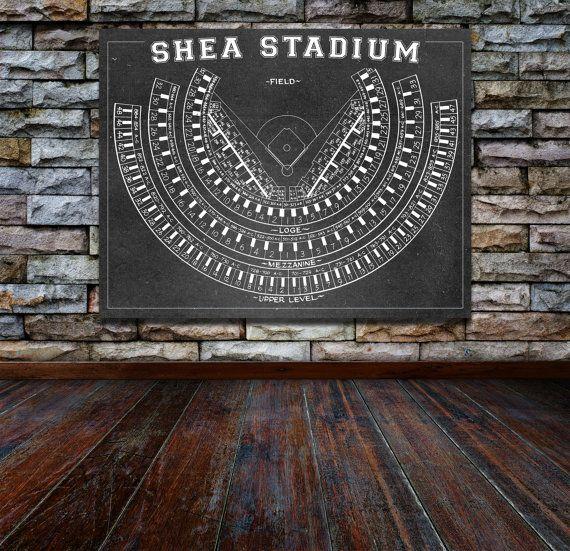 Print Vintage Shea Stadium Seating Chart New Yorl Mets Football Sports Canvas Photo Matte Paper Art Diagram NFL Baseball Arena Dome Decor