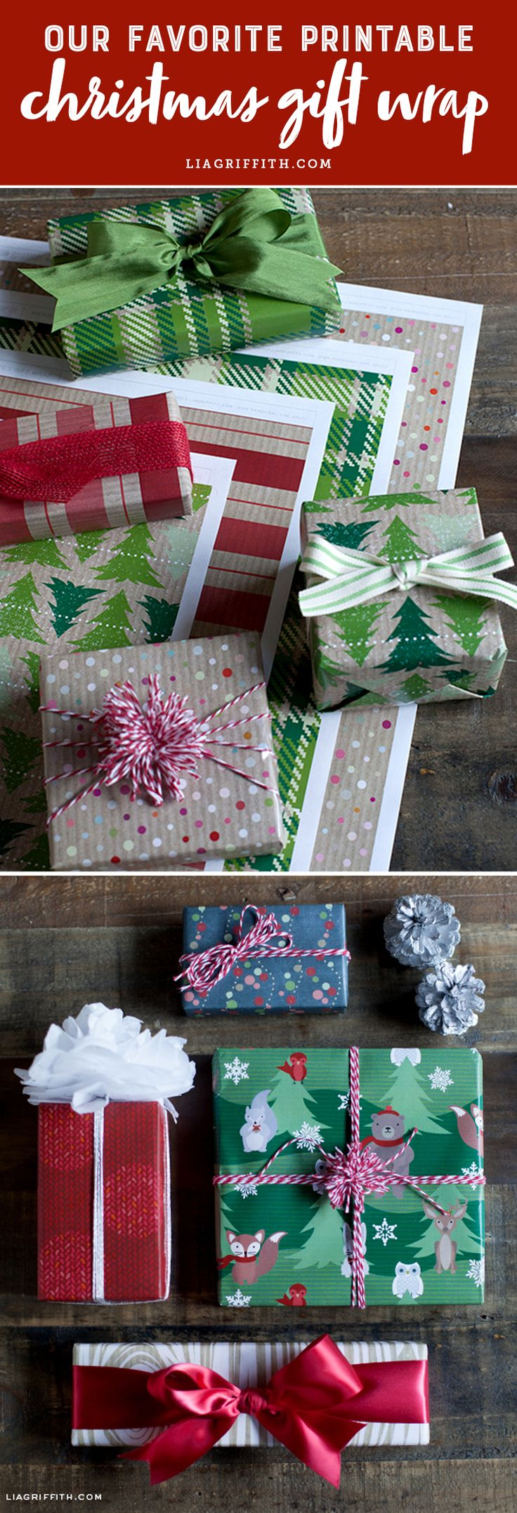Our Favorite Printable Christmas Gift Wrap - Lia Griffith - www.liagriffith.com #diyinspiration #diygift #diygifts #printable #printables #diygiftwrap #giftwrap #paperart #paper #madewithlia