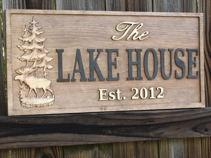 Personalized Carved Cabin Sign Rustic Lake House Sign