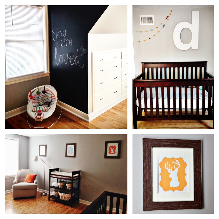 We have an awkward small wall behind the door in our nursery....im thinking that a chalkboard wall just might be the solution instead of  painting it grey like the rest of the room! -Angel