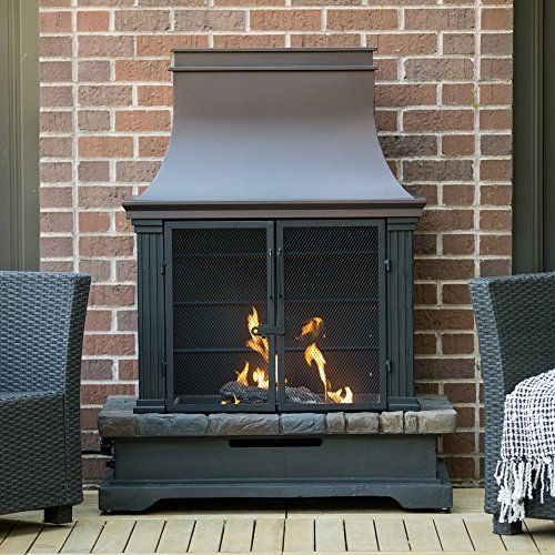 Steel and Envirostone Outdoor Propane Fireplace - http://outdoorfirepit.hzhtlawyer.com/steel-and-envirostone-outdoor-propane-fireplace/