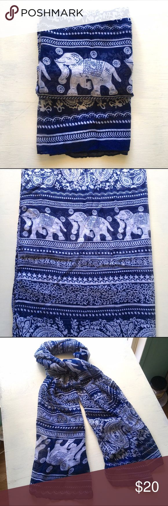 Scarf/Wrap/Swimsuit Cover-Up, Sheer Paisley BLUE NWT Over-sized Scarf or Medium-size Swim Beach Wrap Cover-Up (sarong, lava lava, pareo)--slightly Sheer Paisley Elephant Print--NAVY BLUE and White. Soft and beautiful. Measurements: about 72x33.5 inches. Mermaid Bliss Boutique  Accessories Scarves & Wraps