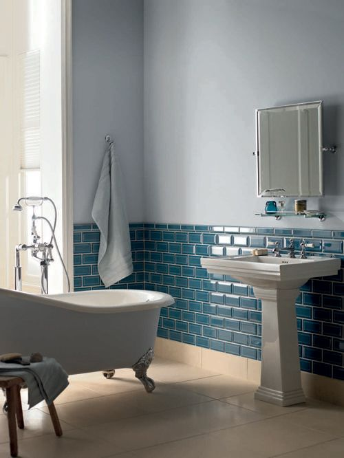 Teal Bathroom with gorgeous subway tile.