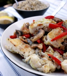 Seafood delights - indulge in Strips of Kingklip with mushrooms and red pepper.