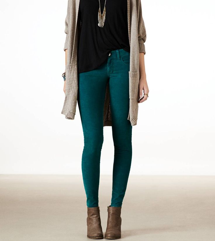 God bless you, American Eagle, for selling pants with a long inseam. Just ordered these beauties: Corduroy Jeggings in Teal.