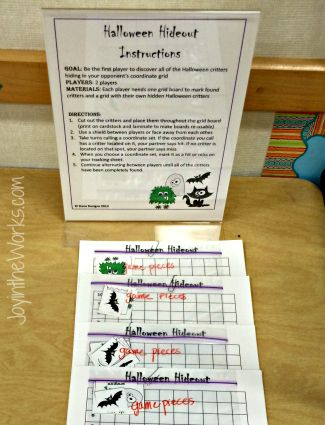 """Halloween Hideout"" A Halloween version of battleship that's perfect for a class party for older students"