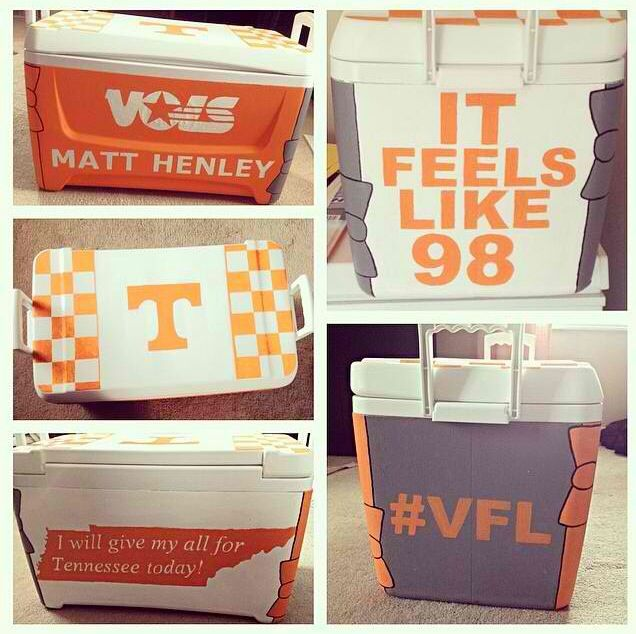 Tennessee cooler I painted for one of my guy friends. It's my favorite craft I've done so far! #vfl