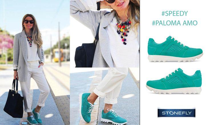 La #blogger spagnola e interior designer Paloma Amo - El Collar De Bolas Rosas - si è follemente innamorata delle nostre #sneakers Speedy color acquamarina. E come darle torto? Si abbinano perfettamente ad ogni outfit e sono super leggere!