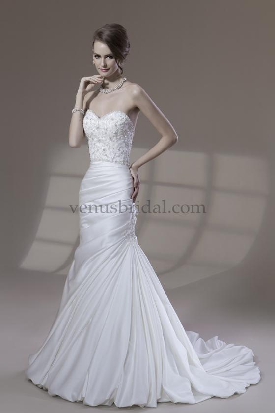 Venus VE116 Beaded bodice with satin train wedding dress