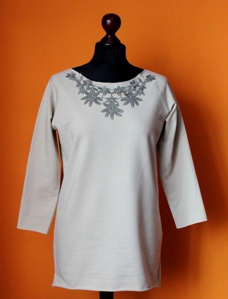 Bluza Dresowa Beż Koronka Oliwkowa S-L w RoomStyle na DaWanda.com