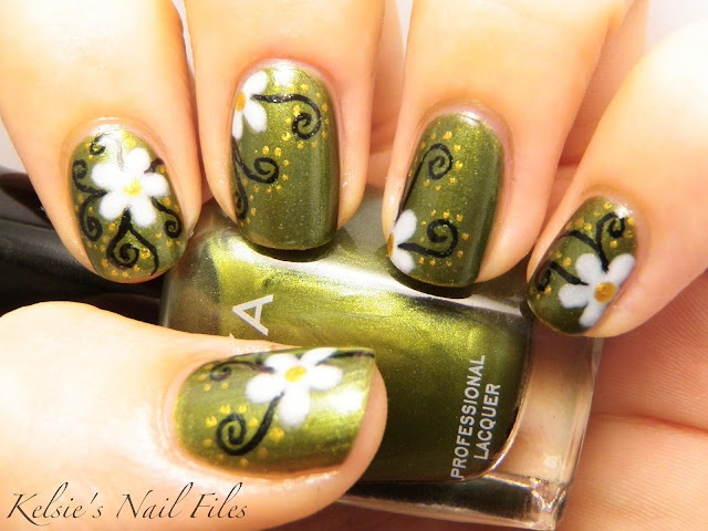 : Green Shoes, White Flowers, Nails Art, Nails File, Design Purses, Green Flowers Nails, Spring Nails, Kelsi Nails, Green Nails