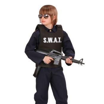 S.W.A.T. politie vest voor kinderen. Zwart politie vest voor kinderen met daarop in grote letters S.W.A.T. Dit vest is geschikt voor kinderen tot maat 158. Carnavalskleding 2015 #carnaval