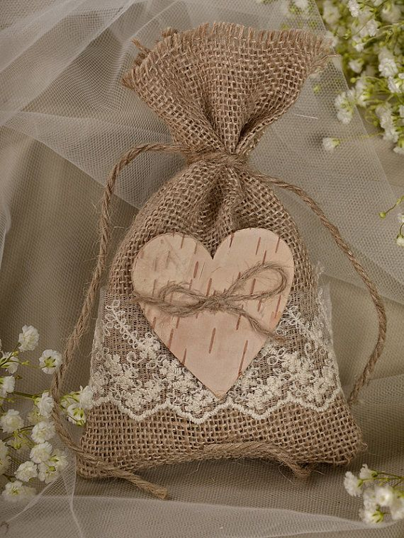 A vintage style burlap pouch for wedding favors.