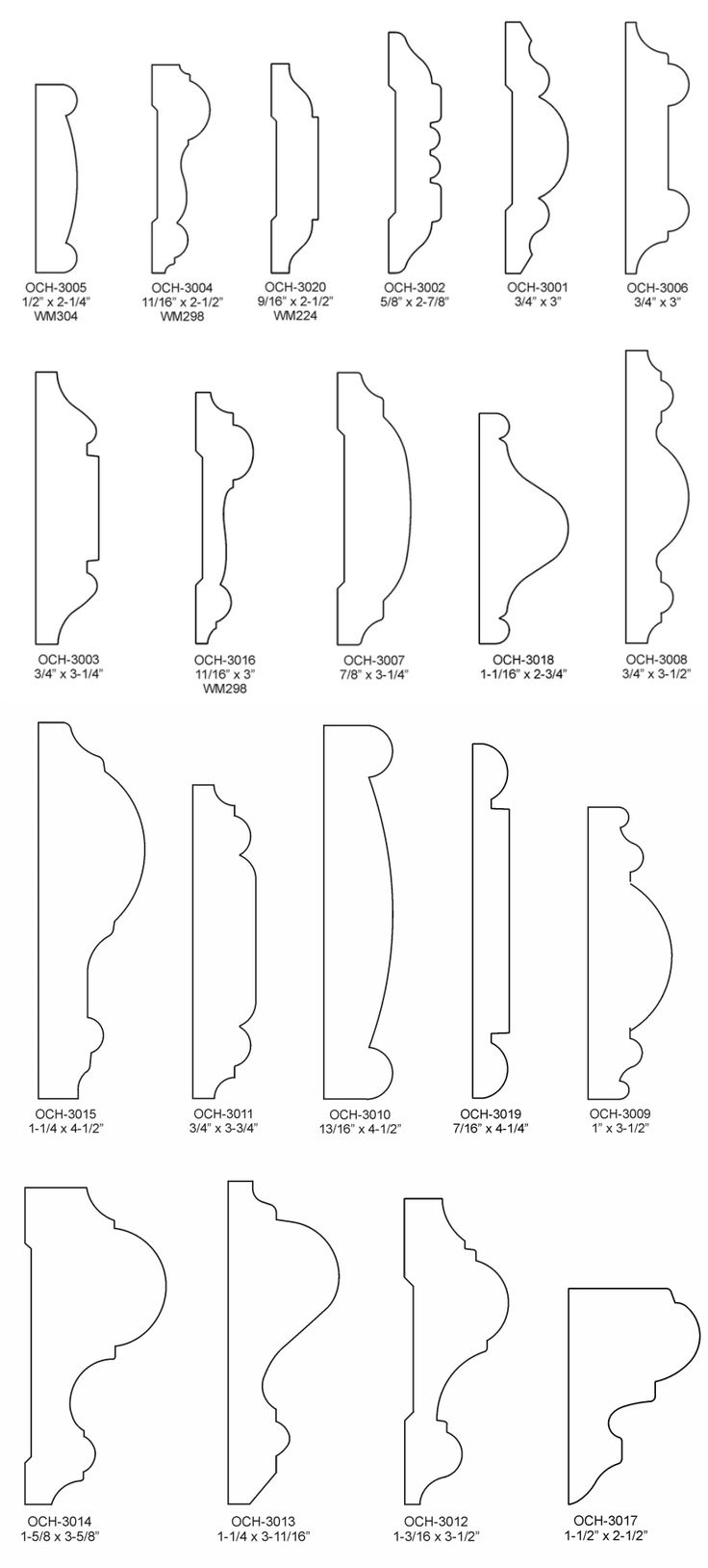 1325018233.png (885×1958) | Moulding profiles, Chair rail ...