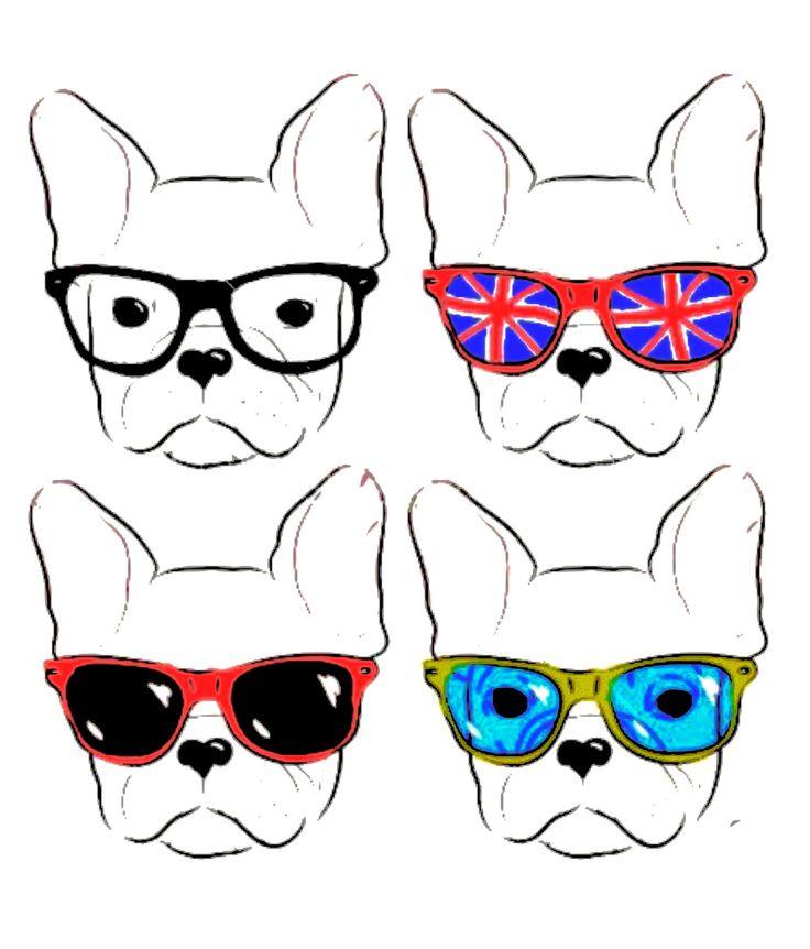 Hipster French Bulldog illustration❤