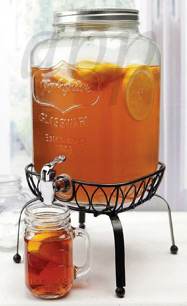 Glass Beverage Dispenser Mason Jar 2 Gal Metal Stand Brand New Gift Boxed Ebay Glass