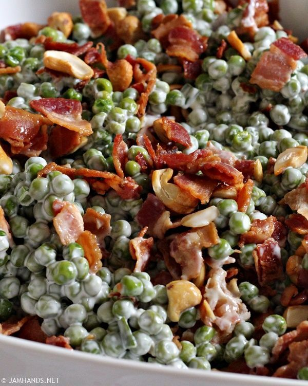 Crunchy Pea Salad with Bacon and Cashews. So easy and delicious!