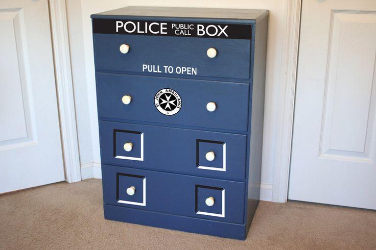 Police Box dresser decal vinyl sticker Its bigger on the inside