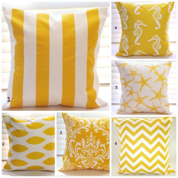 Pillows Beach Decor Yellow Pillows Throw Pillows by PillowsByJanet, $17.00 #yellow #throw_pillows #guest_bed