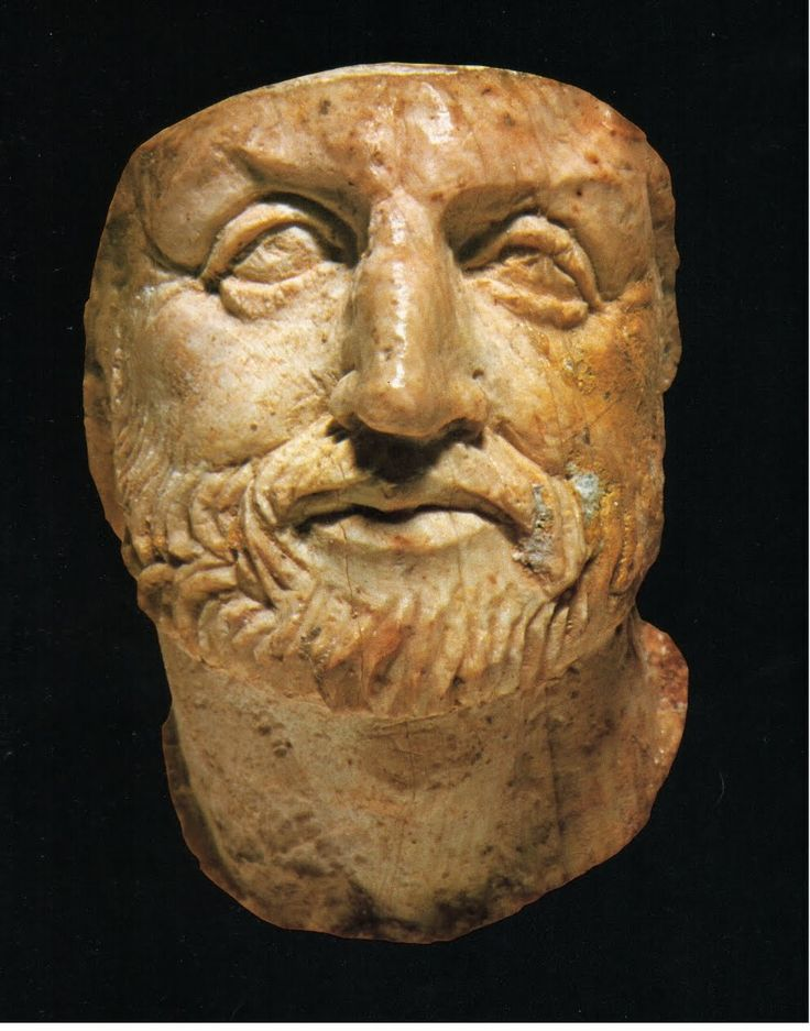 Philip II of Macedon, father of Alexander the Great - tiny ivory portrait found in his tomb, in Vergina, northern Greece Philip II of Macedon Father of Alexander the Great. Lived from 382-336 BC. He was the king of the Greek kingdom of Macedon from 359 BC until his assassination in 336 BC.