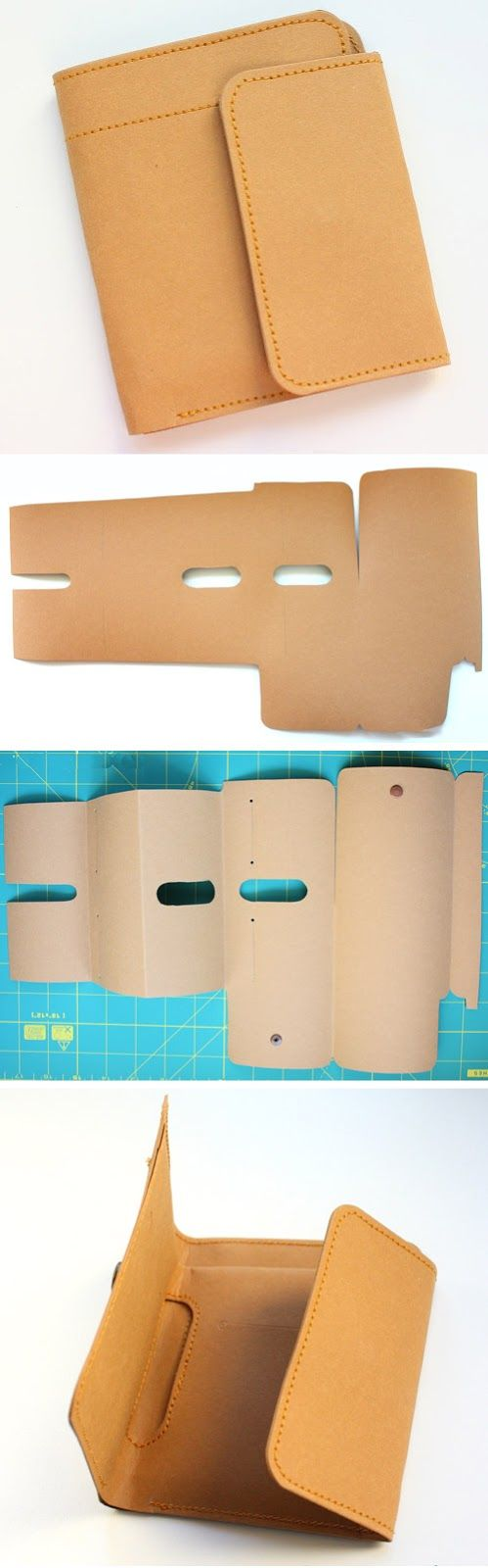 Mens Washable Kraft Paper Wallet handmade. DIY Tutorial in Pictures.  http://www.handmadiya.com/2015/10/kraft-paper-fabric-wallet.html