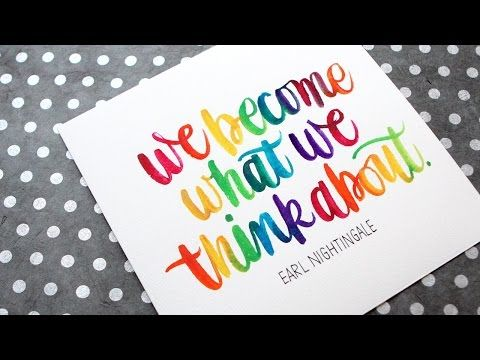 Rainbow Watercolor Brush Lettering (in real time) - YouTube