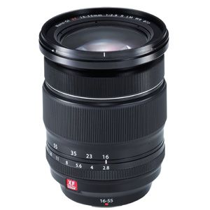 """The weather-resistant zoom lens XF16-55mm F2.8 R LM WR is a flagship """"XF standard zoom lens"""" with a focal length equivalent to 24mm* to 84mm*, and a constant F2.8 aperture throughout the range. The advanced optical design controls various forms of aberration to achieve edge-to-edge sharpness across the entire zoom range. * 35mm format equivalent."""